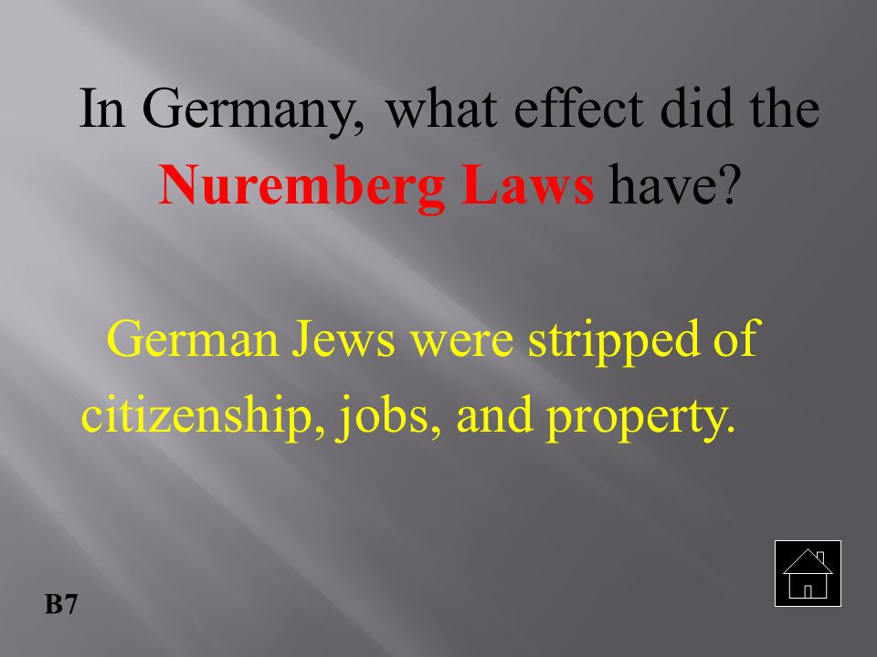 In Germany, what effect did the Nuremberg Laws have