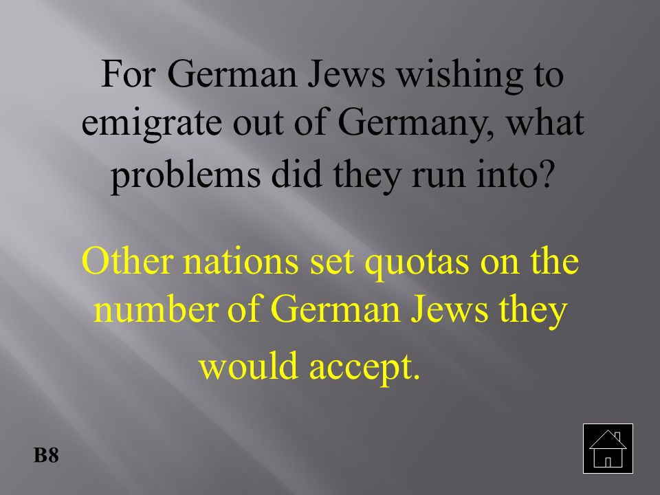 For German Jews wishing to emigrate out of Germany, what problems did they run into