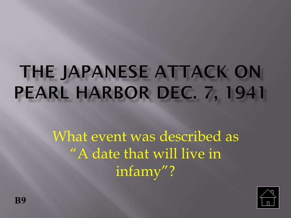 The Japanese attack on Pearl Harbor Dec. 7, 1941