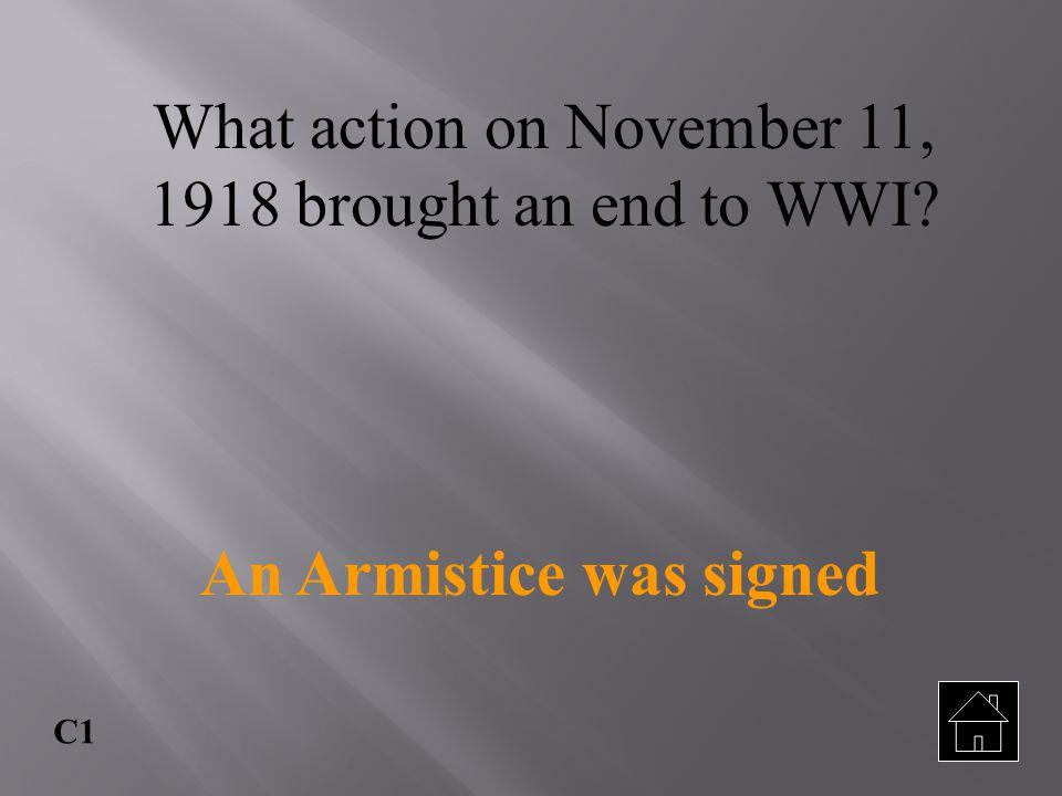 An Armistice was signed