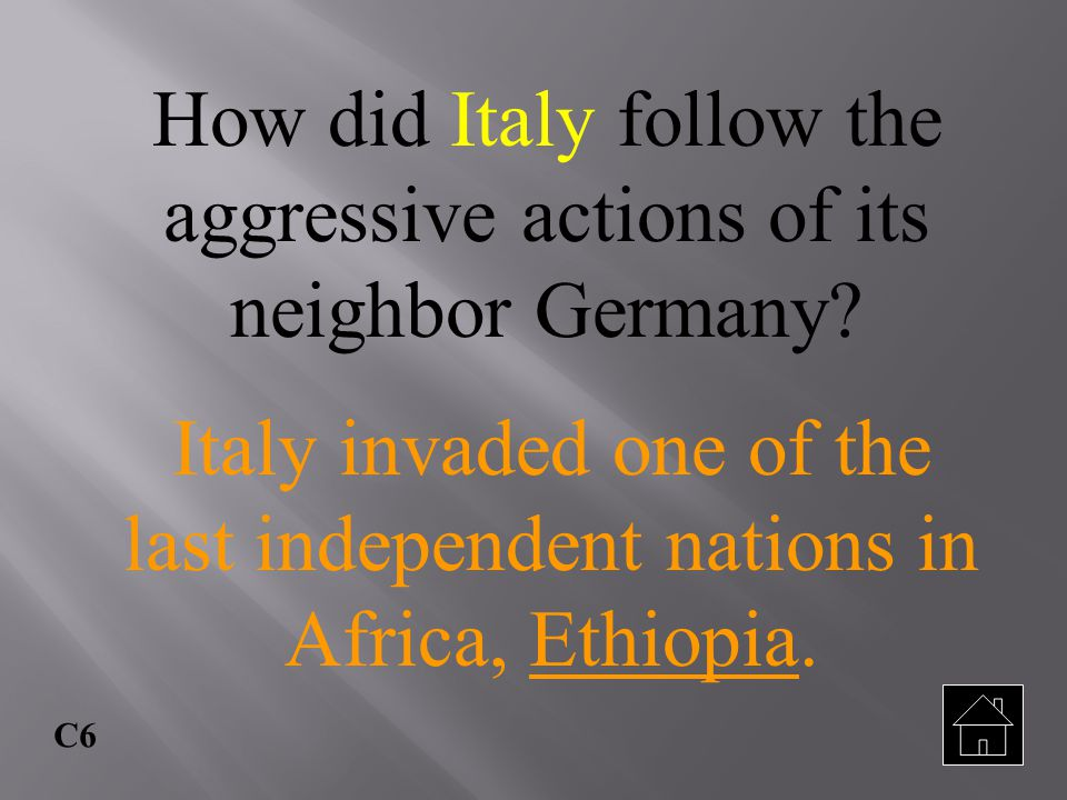 How did Italy follow the aggressive actions of its neighbor Germany