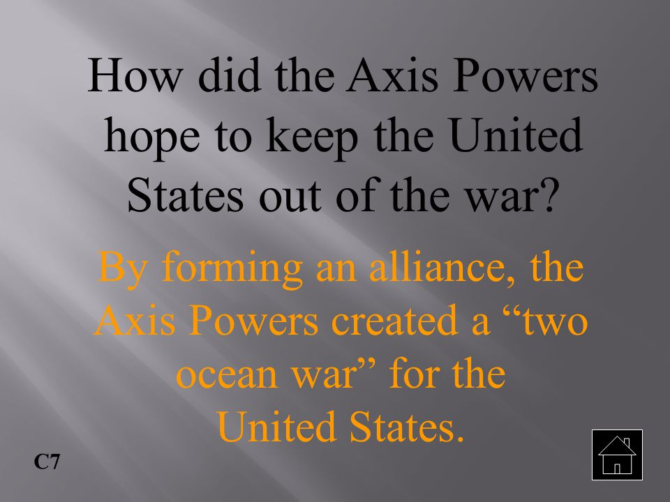 How did the Axis Powers hope to keep the United States out of the war