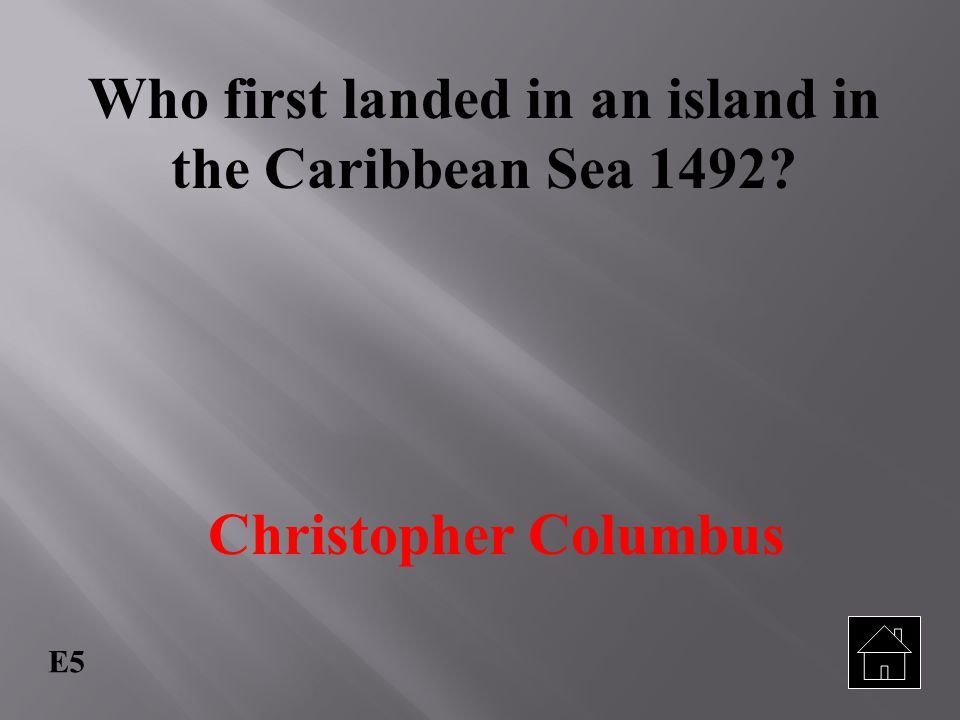 Who first landed in an island in the Caribbean Sea 1492