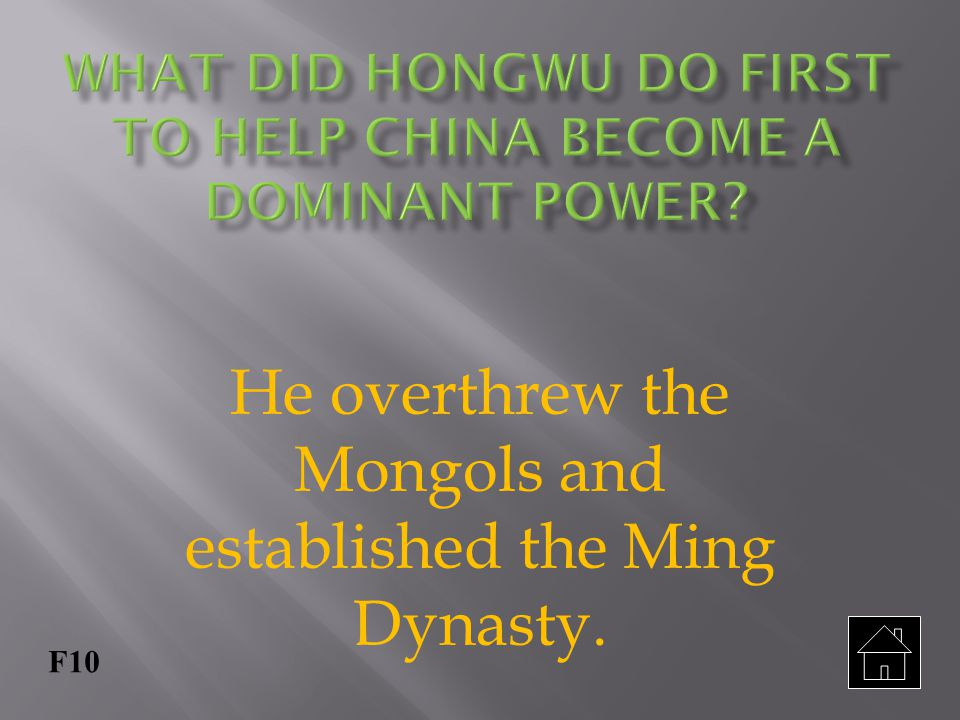 What did Hongwu do first to help China become a dominant power
