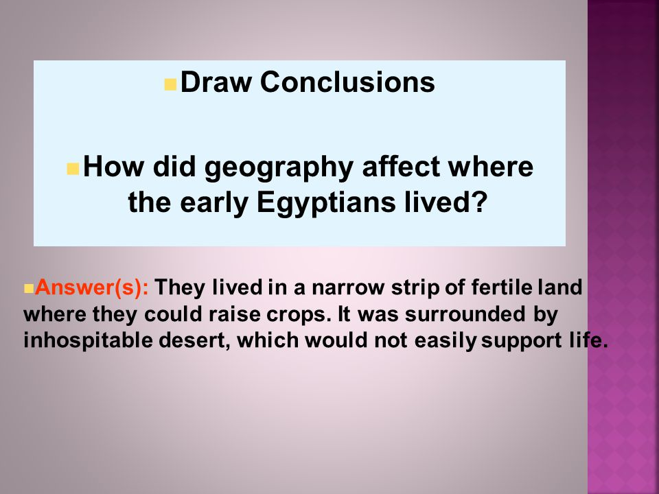 How did geography affect where the early Egyptians lived