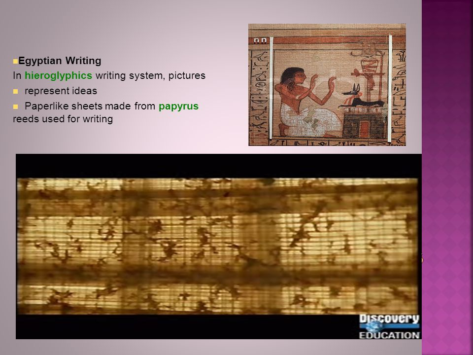 Egyptian Writing In hieroglyphics writing system, pictures. represent ideas. Paperlike sheets made from papyrus reeds used for writing.