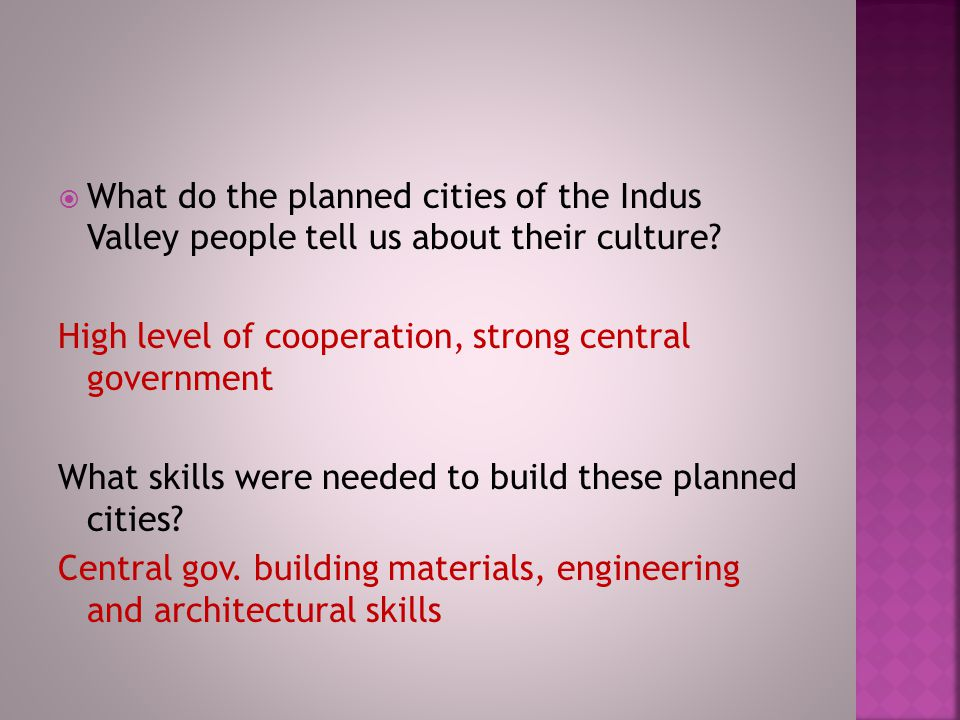 What do the planned cities of the Indus Valley people tell us about their culture