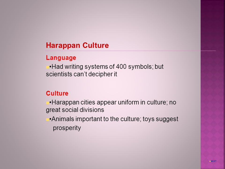 Harappan Culture Language