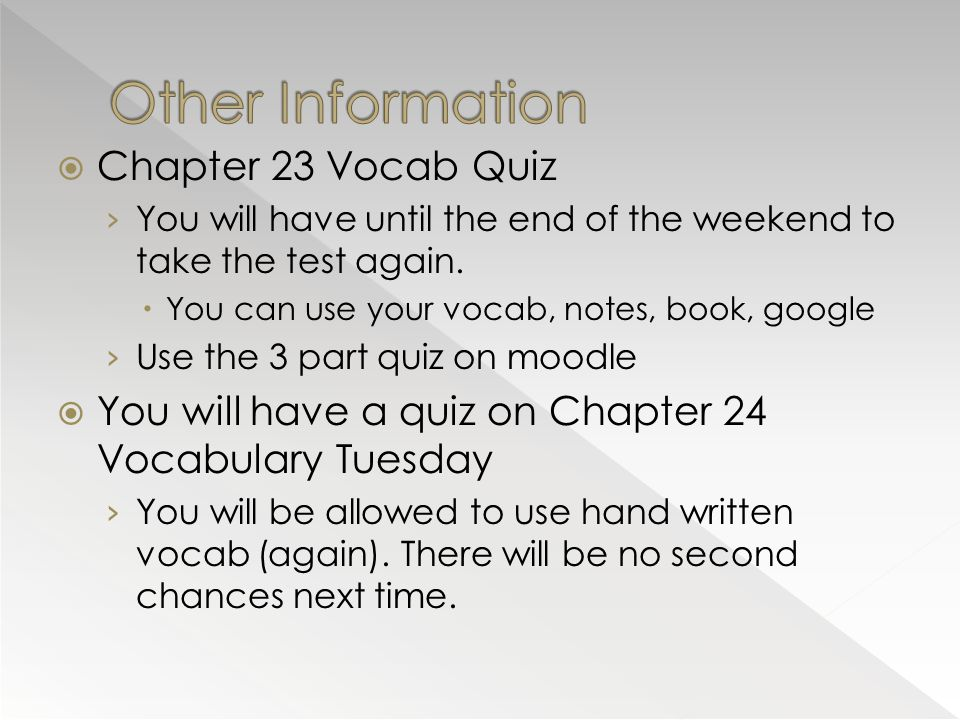 Other Information Chapter 23 Vocab Quiz