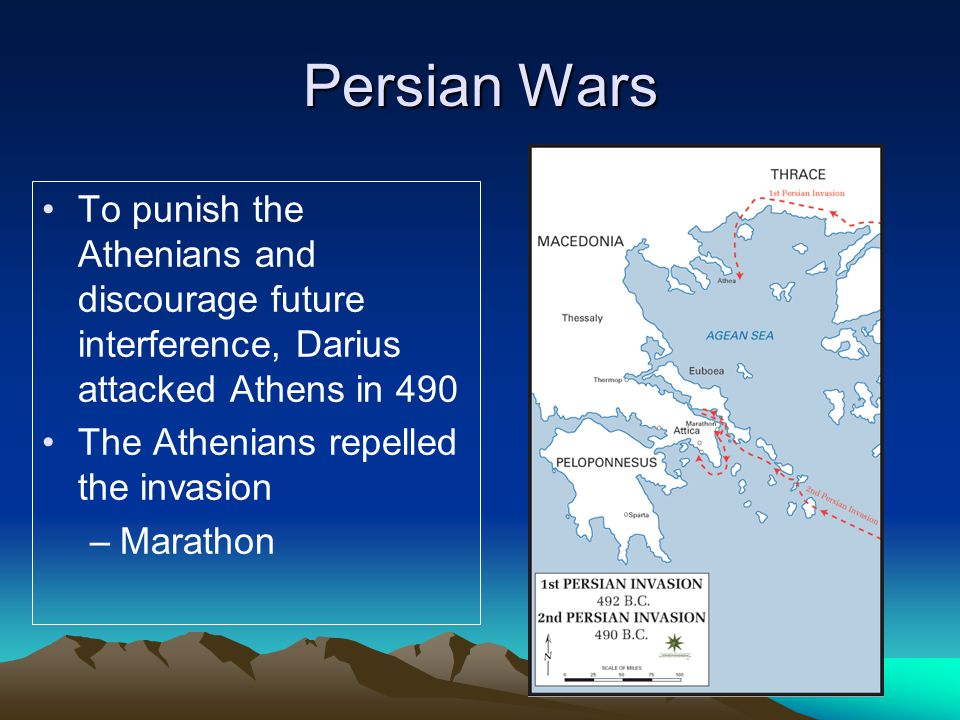 Persian Wars To punish the Athenians and discourage future interference, Darius attacked Athens in 490.
