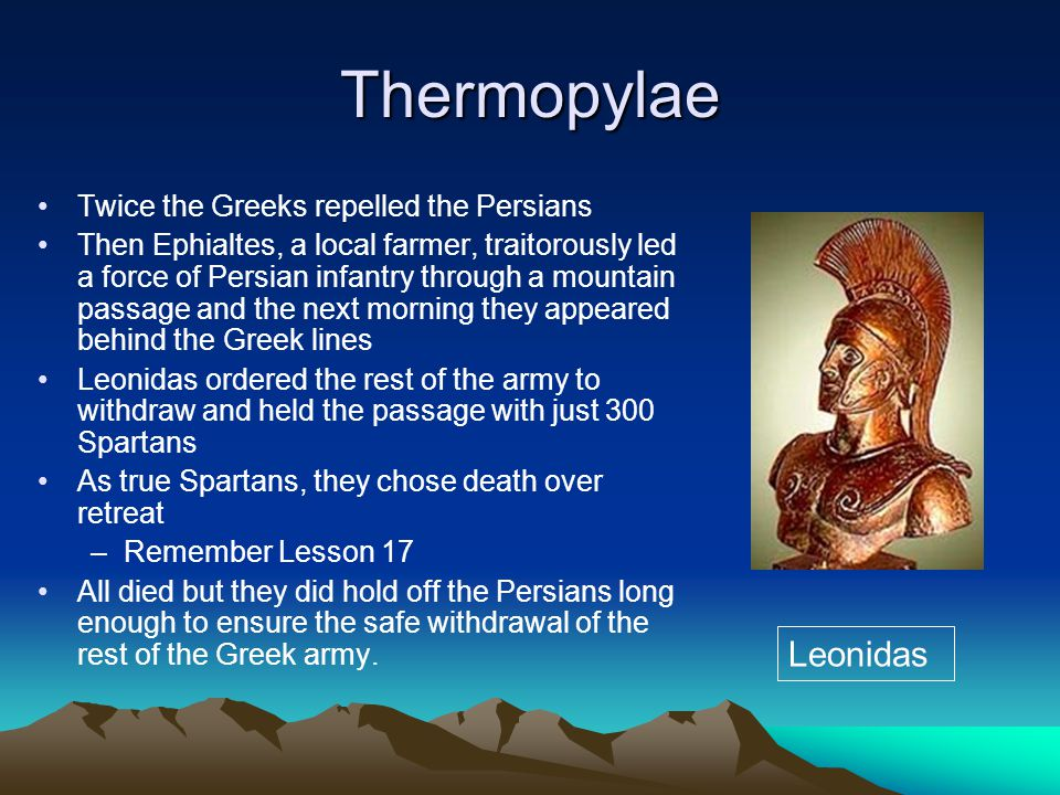 Thermopylae Leonidas Twice the Greeks repelled the Persians