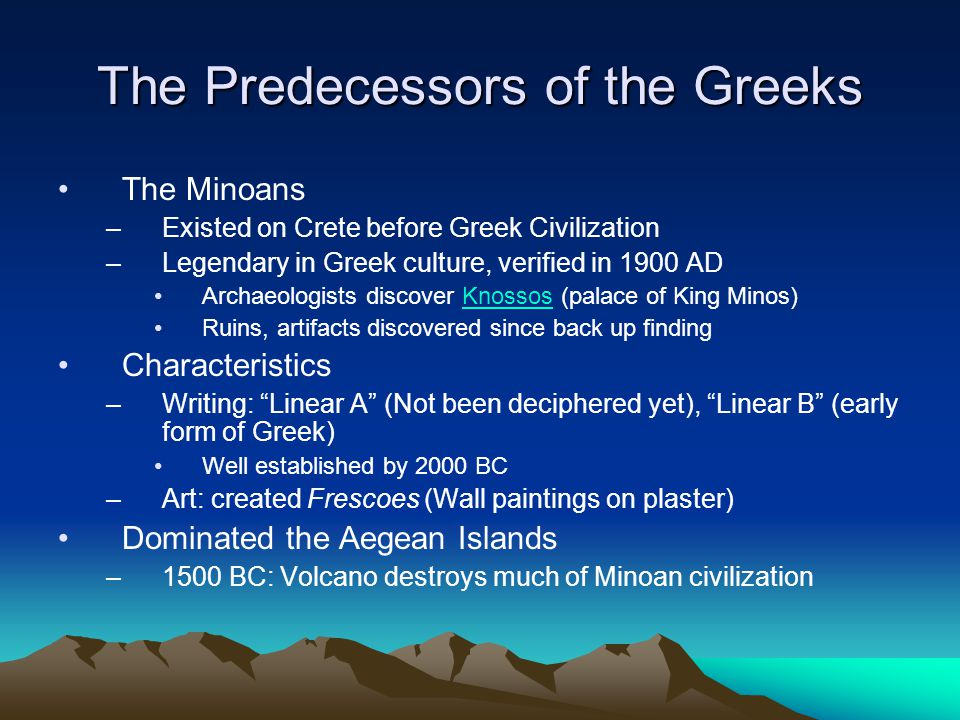 The Predecessors of the Greeks