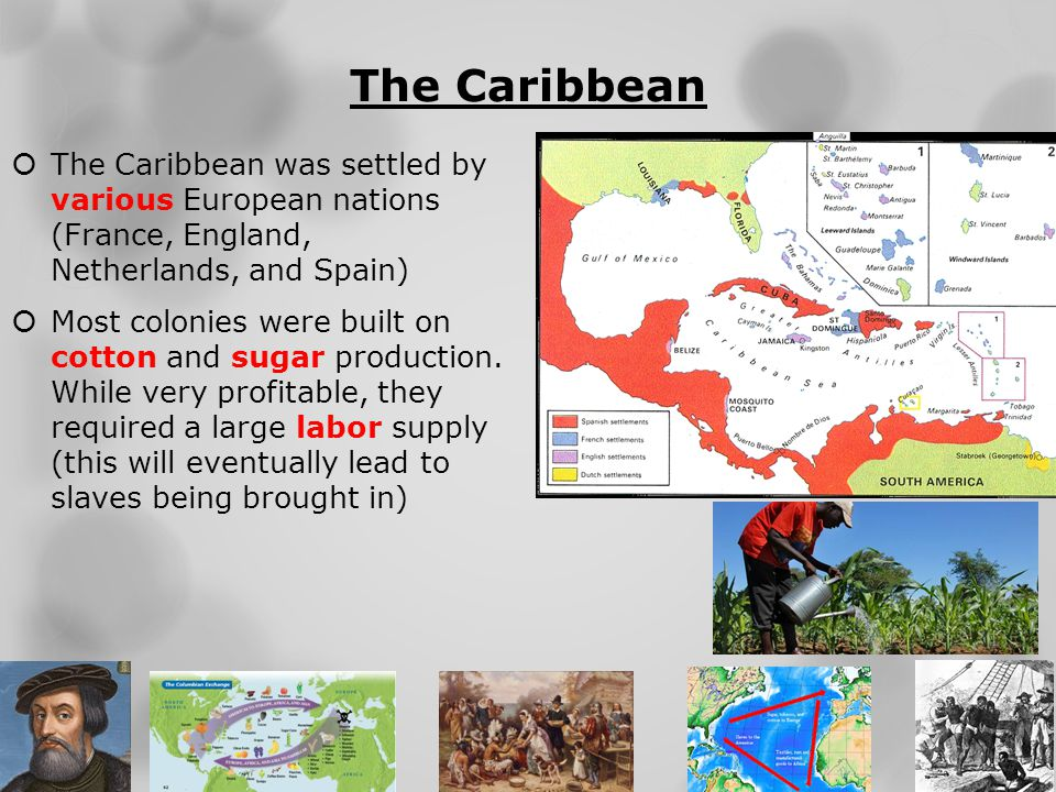 The Caribbean The Caribbean was settled by various European nations (France, England, Netherlands, and Spain)