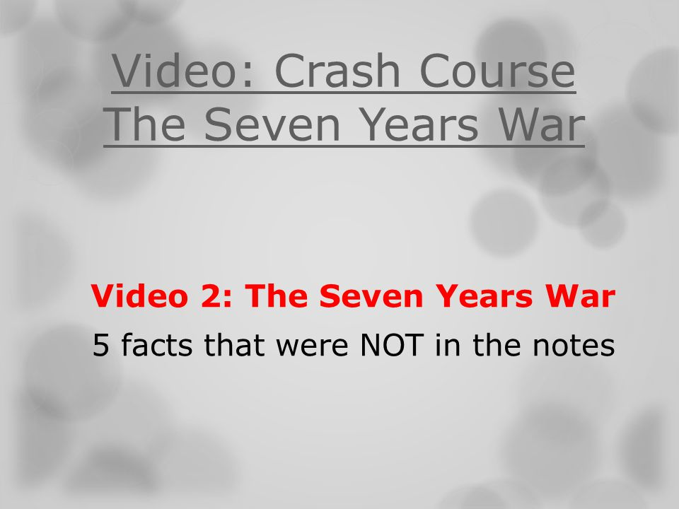Video: Crash Course The Seven Years War