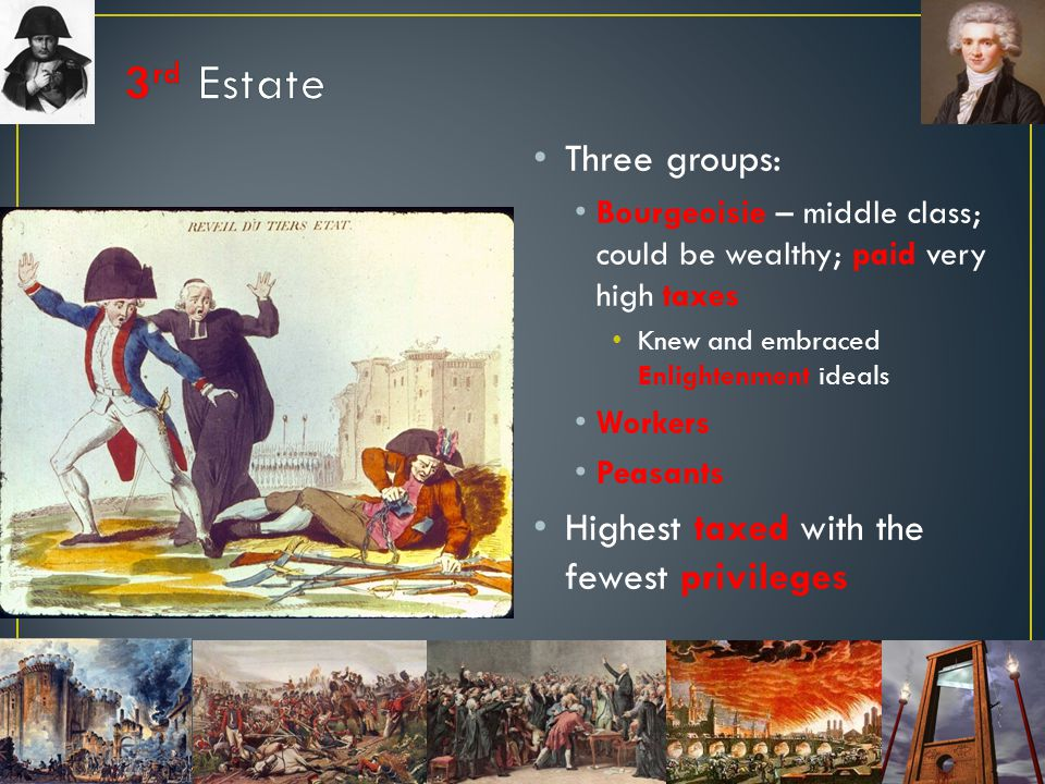 3rd Estate Three groups: Highest taxed with the fewest privileges