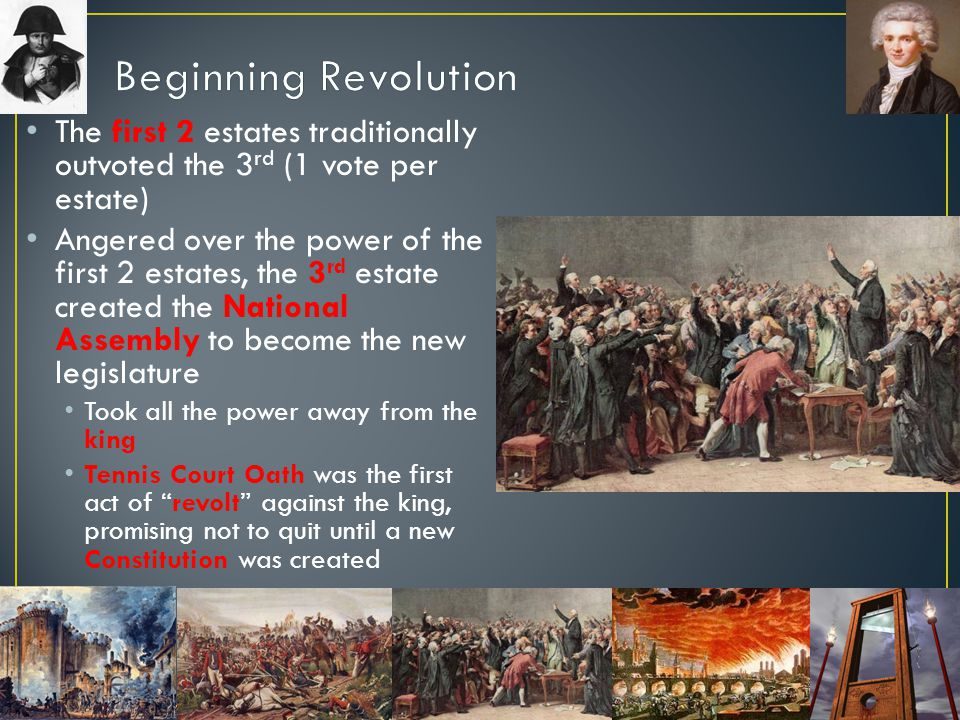 Beginning Revolution The first 2 estates traditionally outvoted the 3rd (1 vote per estate)