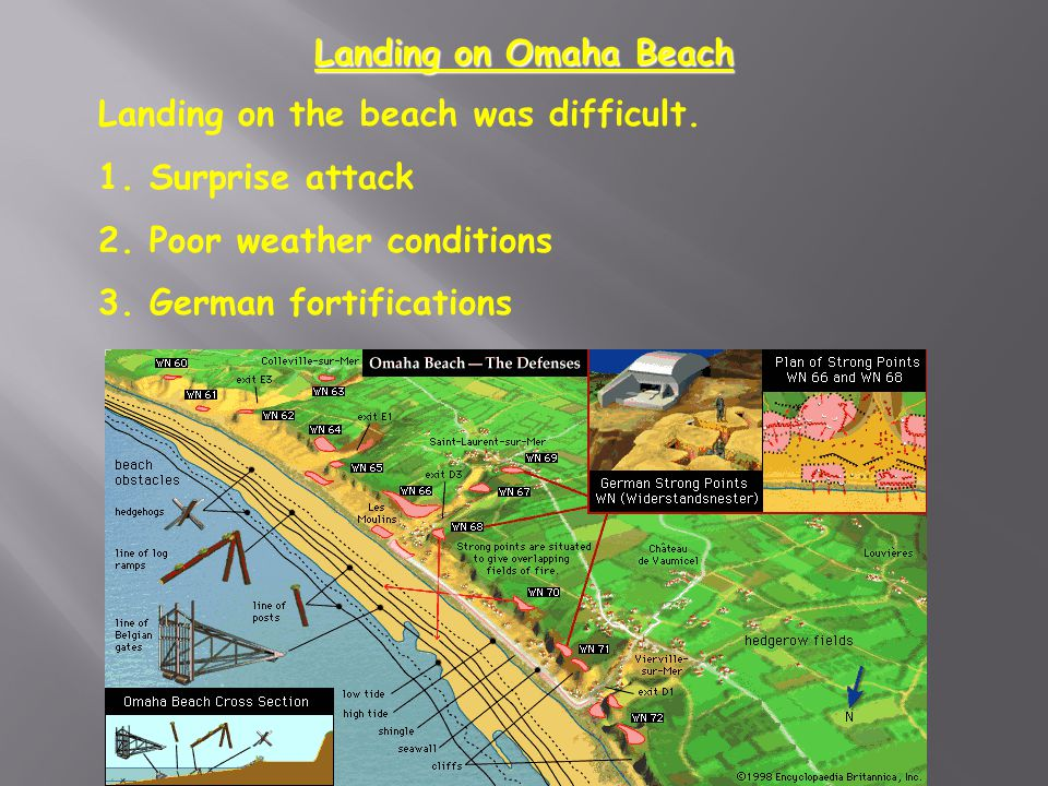 Landing on Omaha Beach Landing on the beach was difficult. 1. Surprise attack. 2. Poor weather conditions.