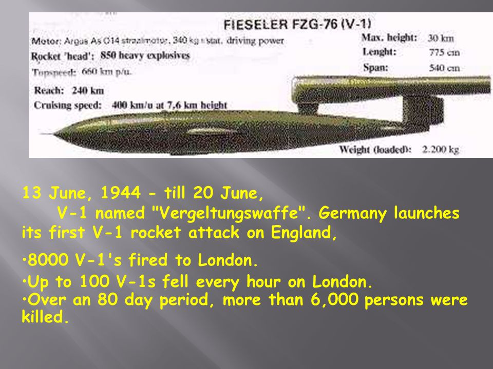 13 June, 1944 - till 20 June, V-1 named Vergeltungswaffe . Germany launches its first V-1 rocket attack on England,