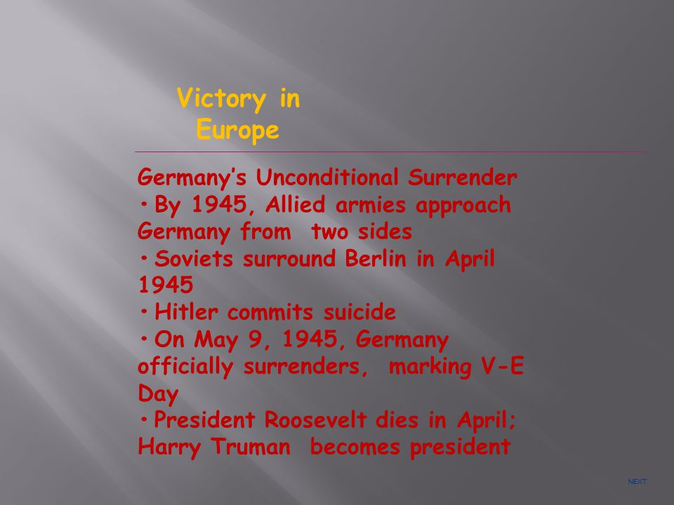 Victory in Europe Germany's Unconditional Surrender
