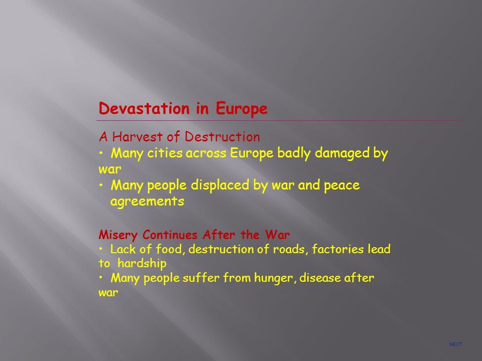 Devastation in Europe A Harvest of Destruction