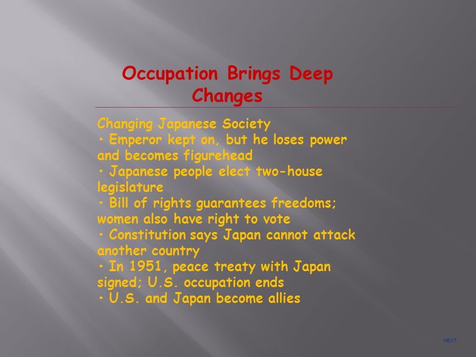 Occupation Brings Deep Changes