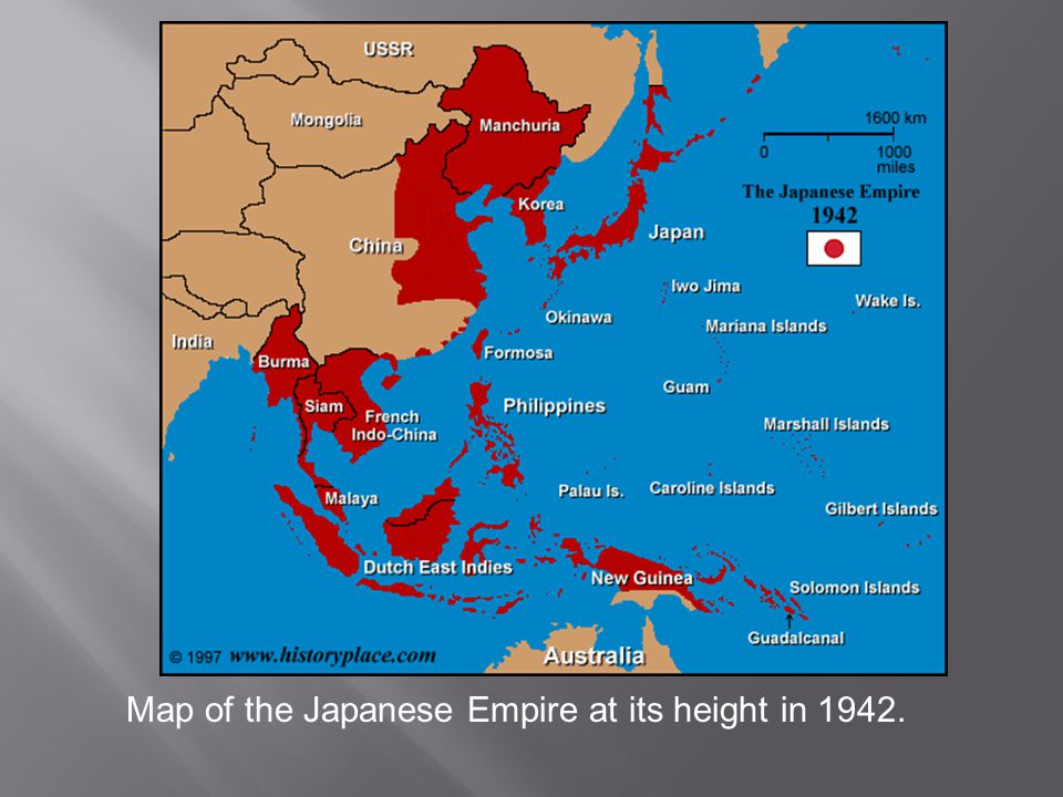 Map of the Japanese Empire at its height in 1942.