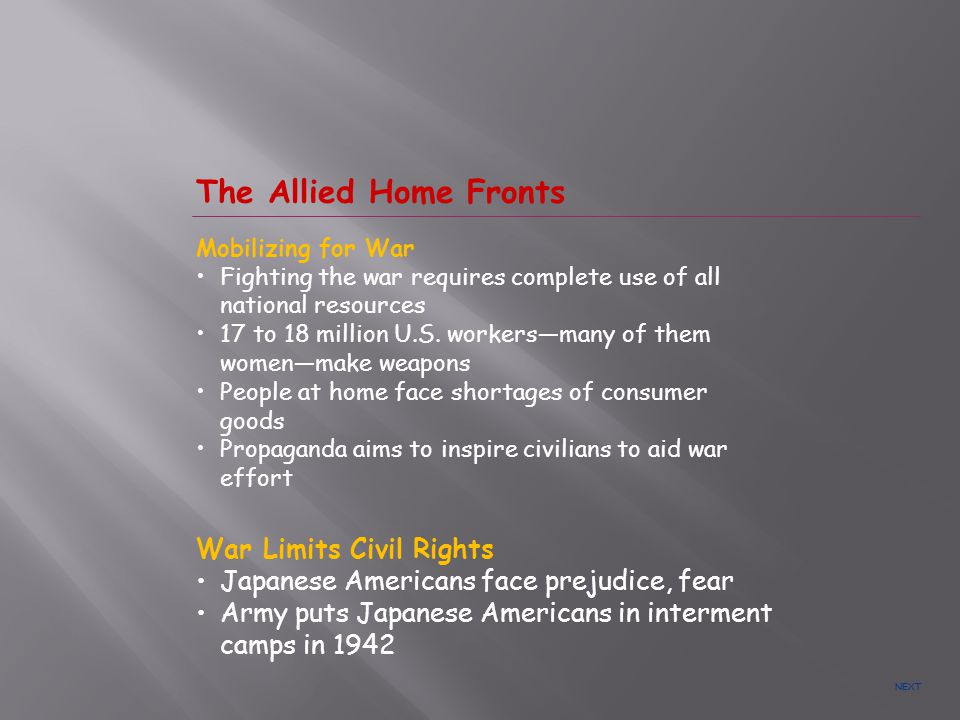 The Allied Home Fronts War Limits Civil Rights