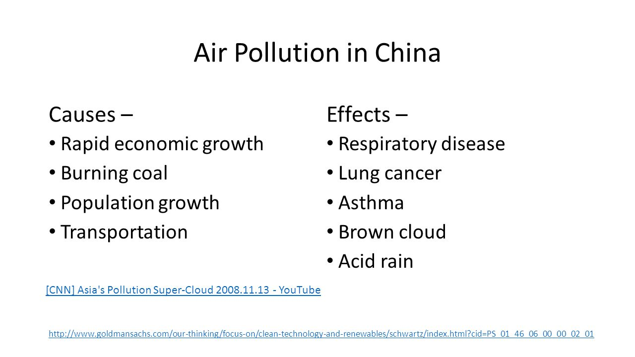 Air Pollution in China Causes – Effects – Rapid economic growth
