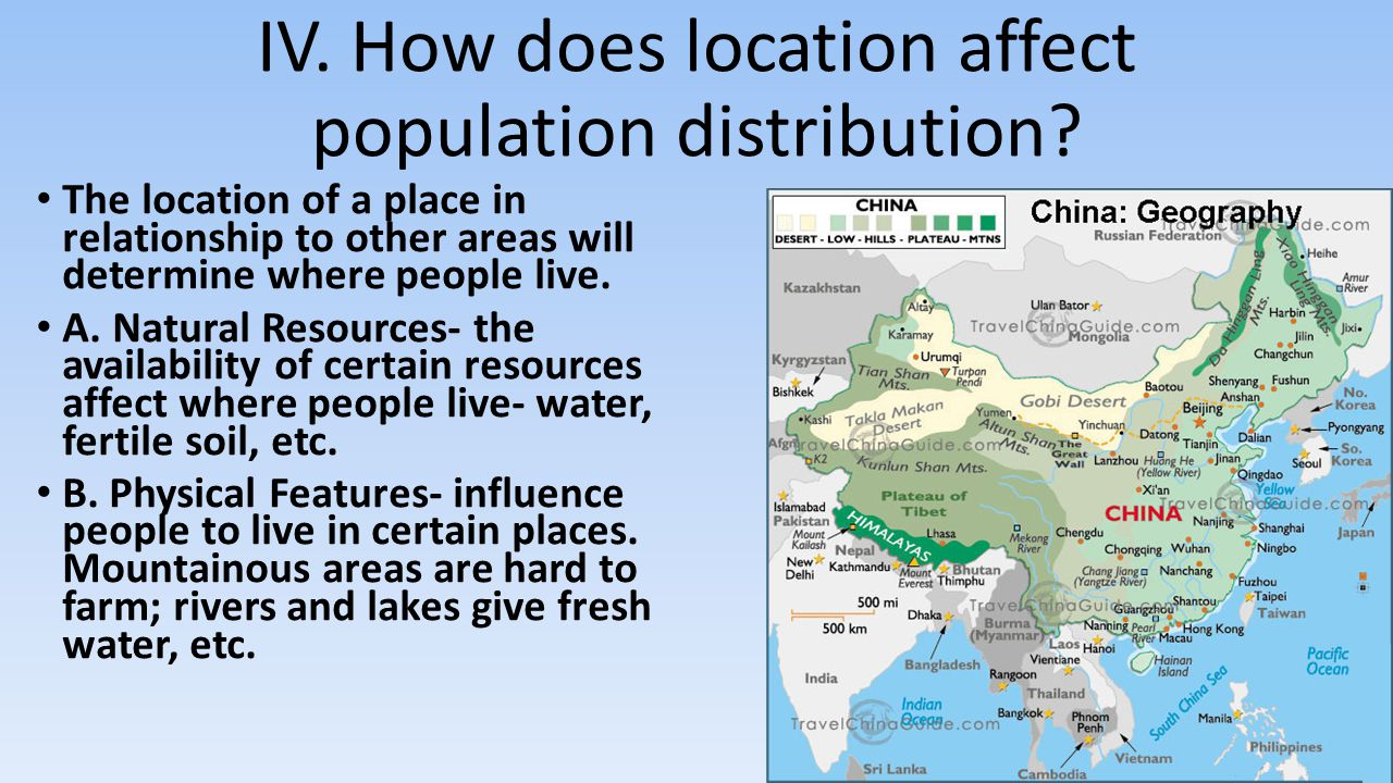 IV. How does location affect population distribution