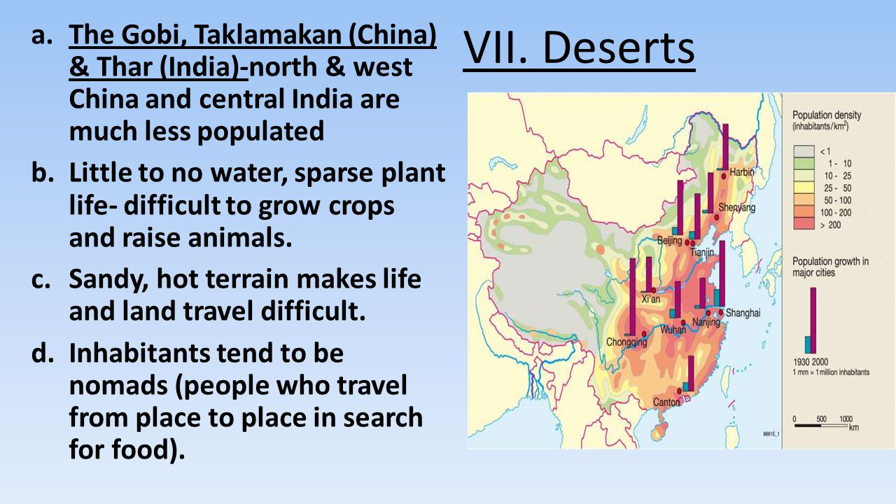 VII. Deserts The Gobi, Taklamakan (China) & Thar (India)-north & west China and central India are much less populated.