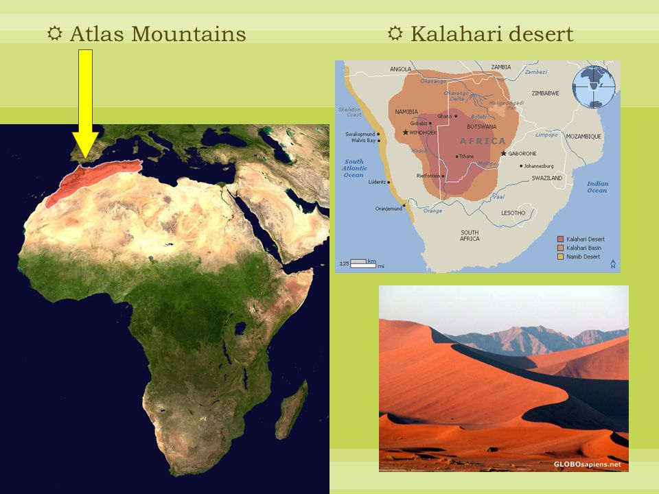 Atlas Mountains Kalahari desert