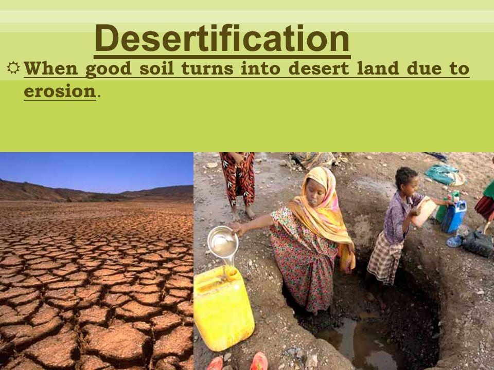 Desertification When good soil turns into desert land due to erosion.