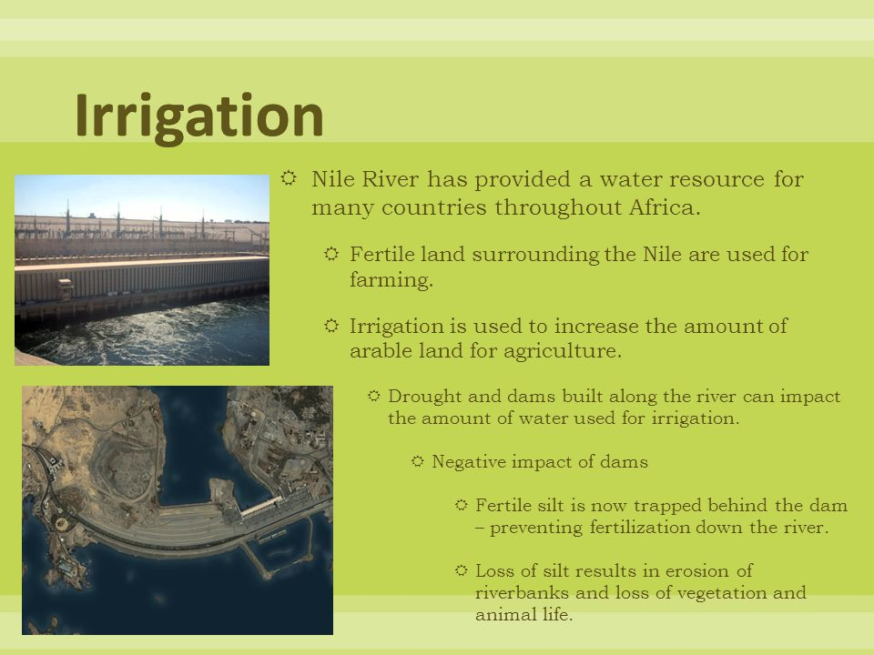 Irrigation Nile River has provided a water resource for many countries throughout Africa. Fertile land surrounding the Nile are used for farming.