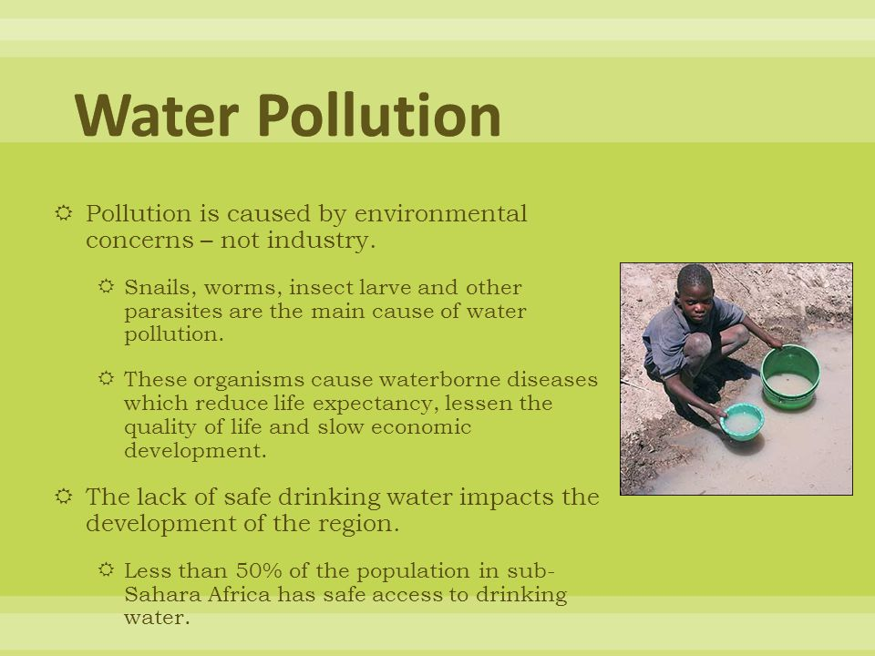 Water Pollution Pollution is caused by environmental concerns – not industry.