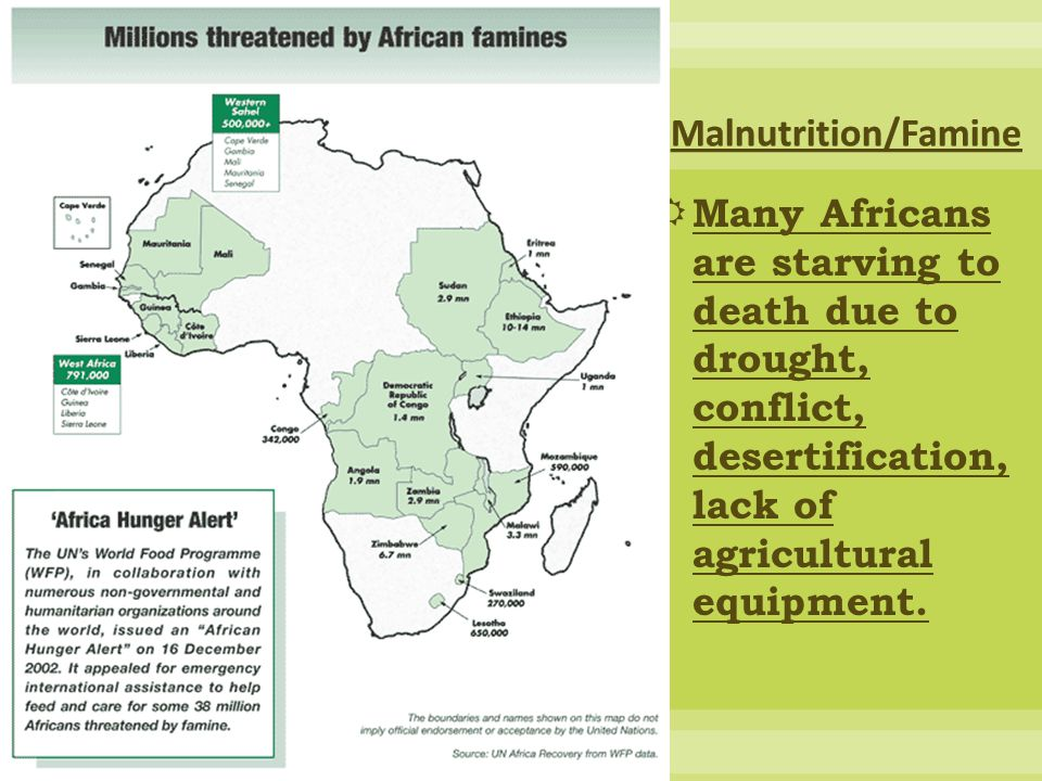Malnutrition/Famine Many Africans are starving to death due to drought, conflict, desertification, lack of agricultural equipment.