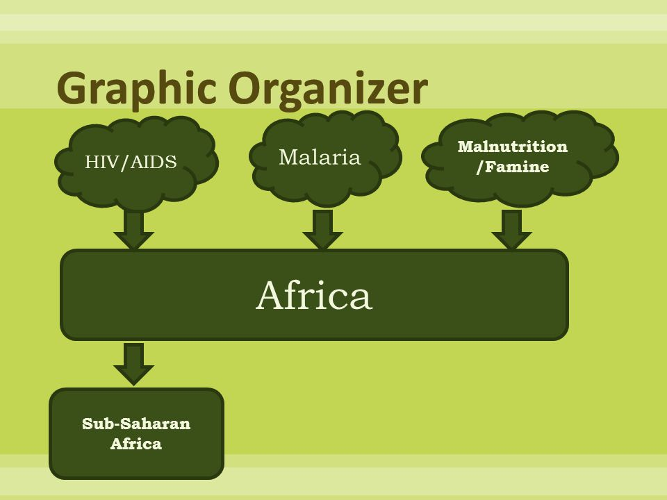 Graphic Organizer Africa Malaria HIV/AIDS Malnutrition/Famine