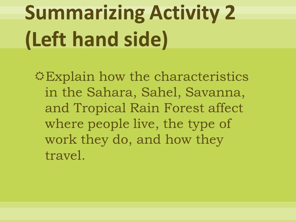 Summarizing Activity 2 (Left hand side)