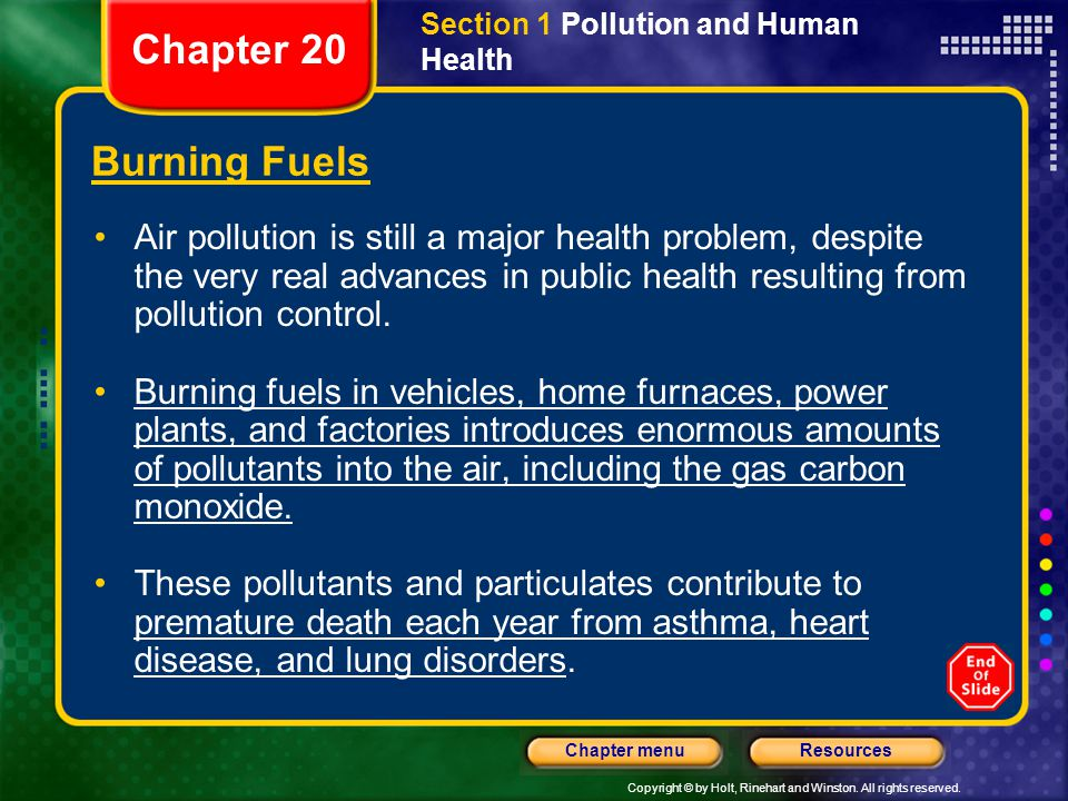 Section 1 Pollution and Human Health