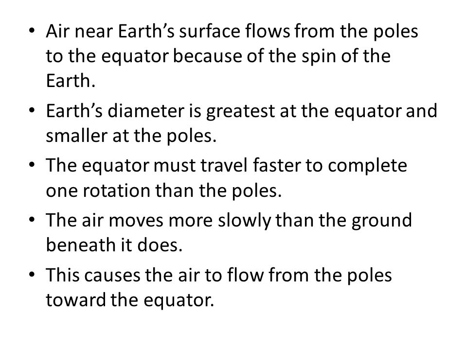 Air near Earth's surface flows from the poles to the equator because of the spin of the Earth.