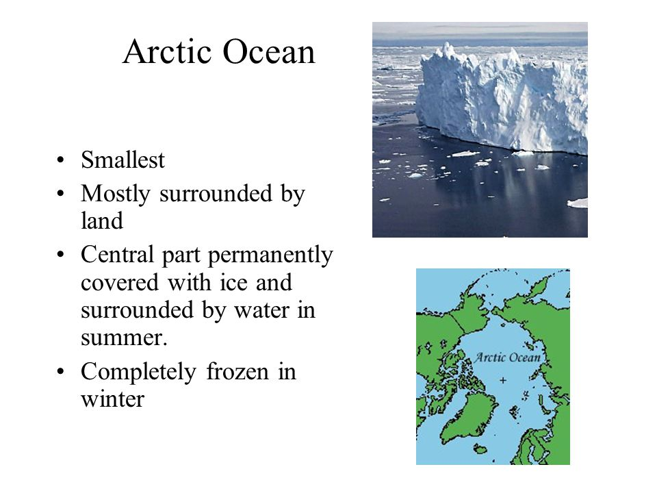 Arctic Ocean Smallest Mostly surrounded by land