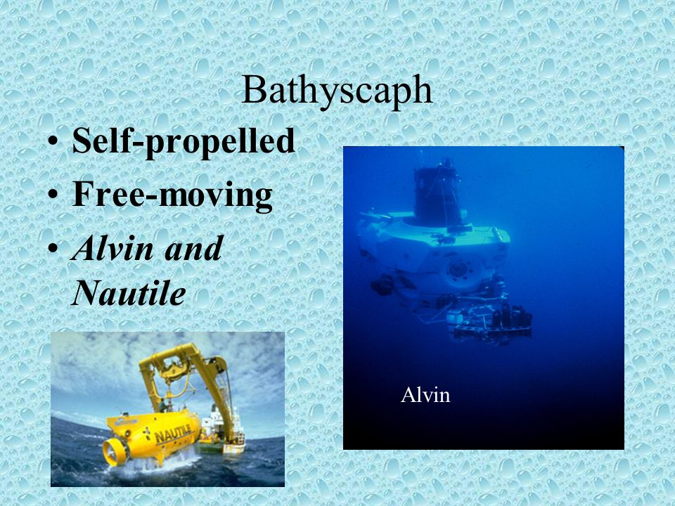 Bathyscaph Self-propelled Free-moving Alvin and Nautile Alvin