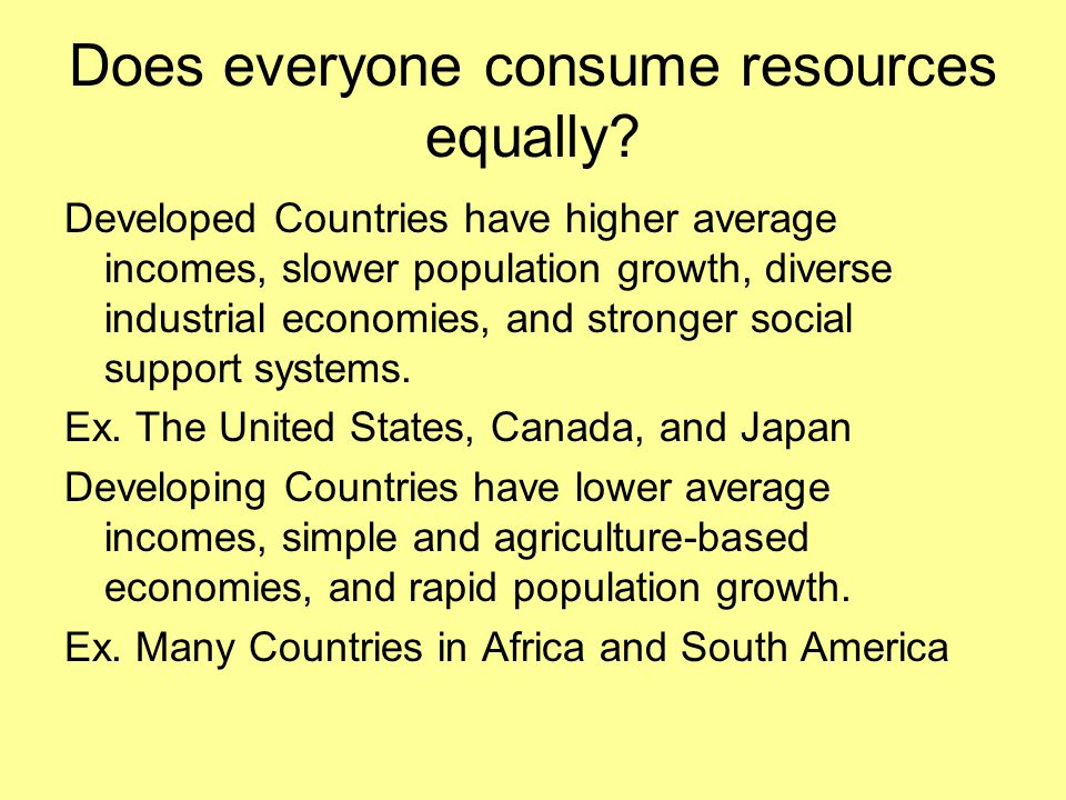 Does everyone consume resources equally