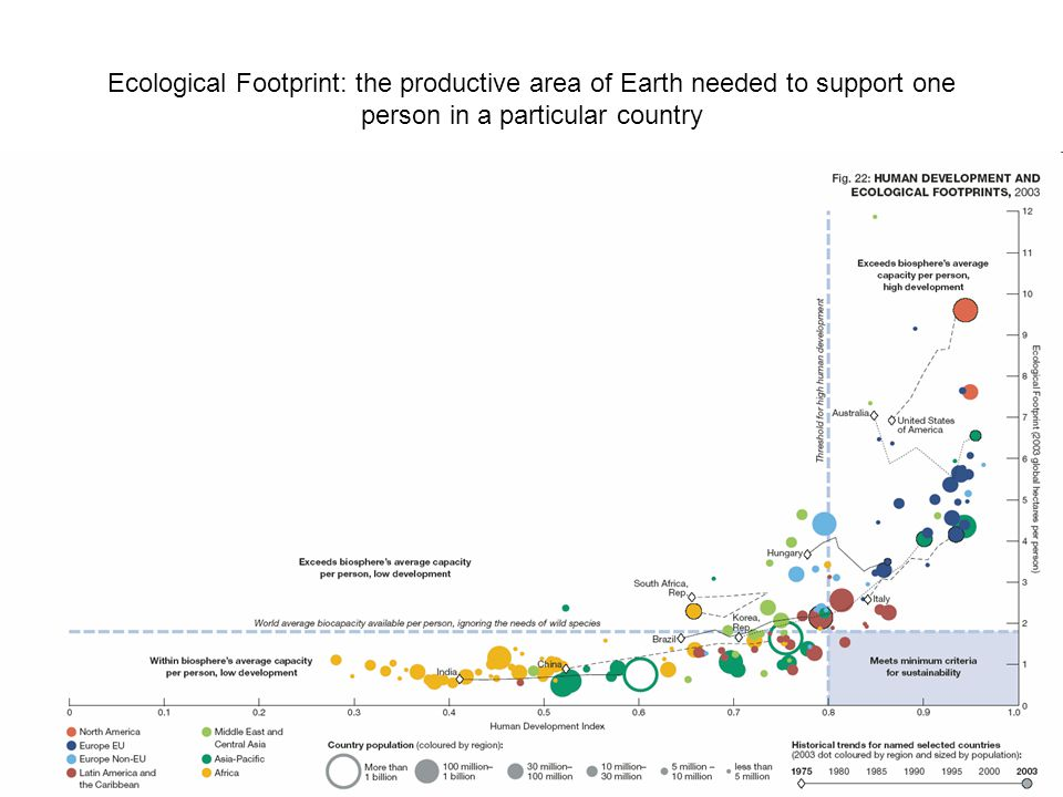 Ecological Footprint: the productive area of Earth needed to support one person in a particular country