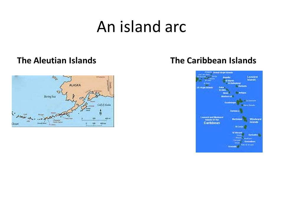 An island arc The Aleutian Islands The Caribbean Islands