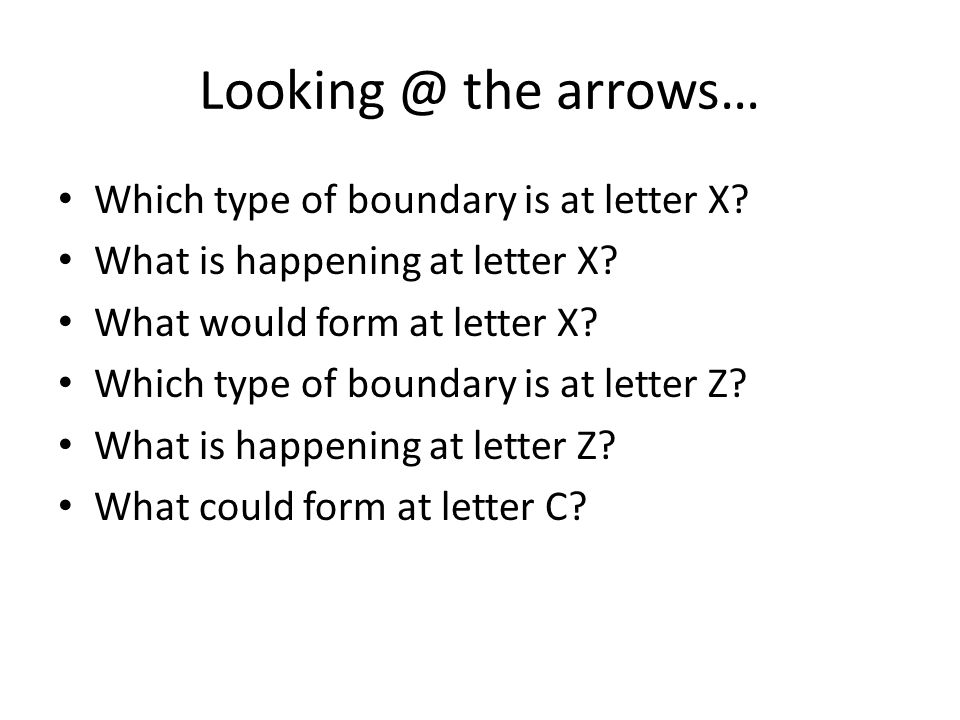 Looking @ the arrows… Which type of boundary is at letter X