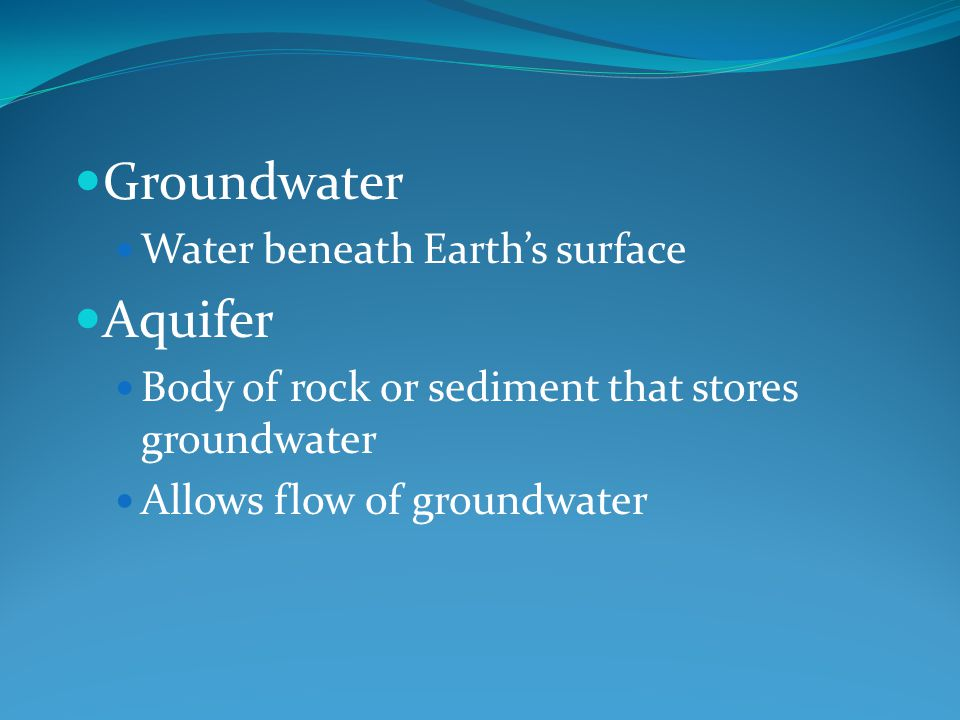 Groundwater Aquifer Water beneath Earth's surface