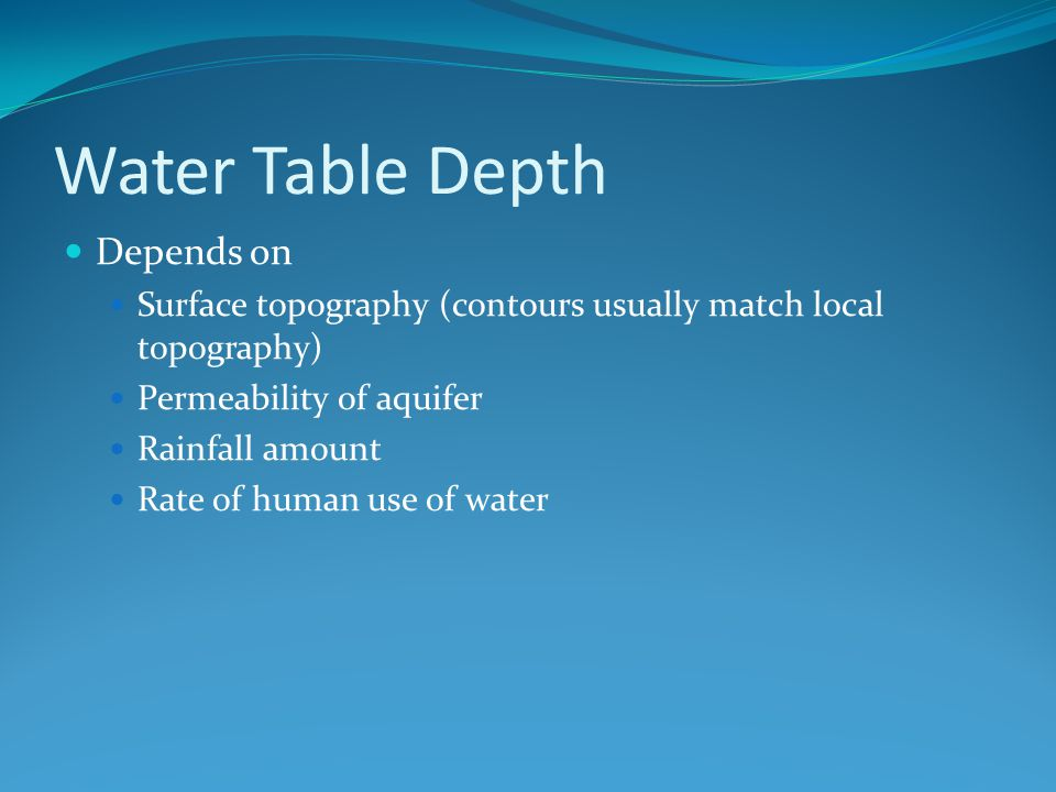 Water Table Depth Depends on