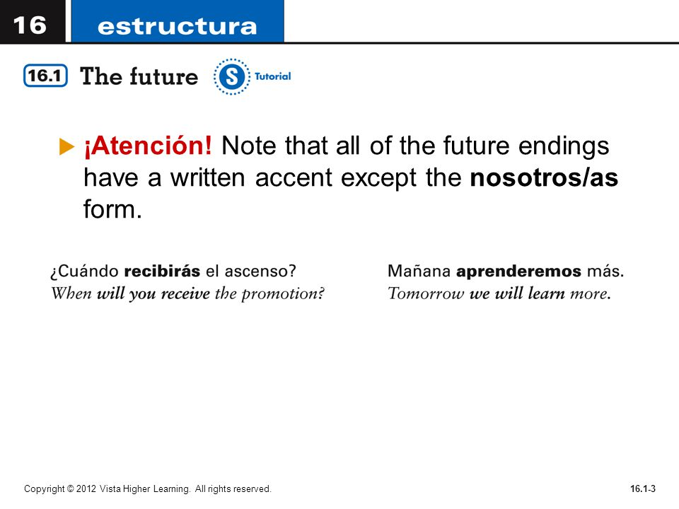 ¡Atención! Note that all of the future endings have a written accent except the nosotros/as form.