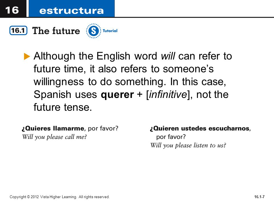Although the English word will can refer to future time, it also refers to someone's willingness to do something. In this case, Spanish uses querer + [infinitive], not the future tense.