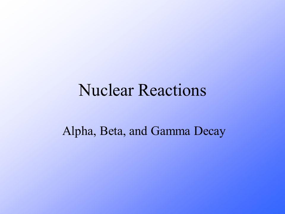 Alpha, Beta, and Gamma Decay